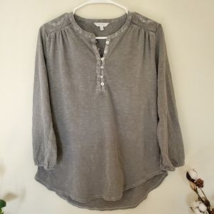 Lucky Brand Three Quarter Sleeve Greige Top